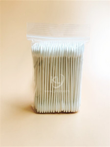 KL-P-33 200PCS Paper Stick Round Tips Tips&Sharp Tips Cotton Buds In PE Zip Bag