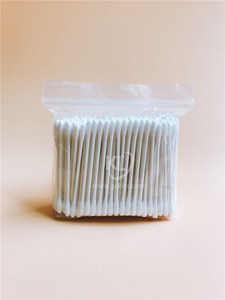 KL-P-02 200PCS Paper Stick Round Tips Cotton Buds In PE Zip Bag