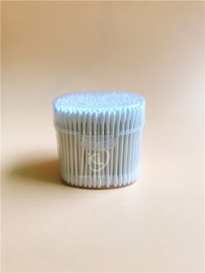 KL-P-07  300PCS Paper Stick Round Tips Cotton Buds In PP Clicked Can