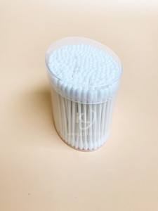 KL-P-05 200PCS Paper Stick Round Tips Cotton Buds In PP Oval Can