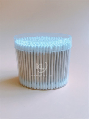 KL-W-04 200PCS Wooden Stick Round Tips Cotton Buds In PP Oval Can