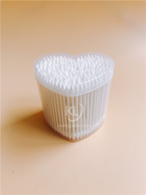 KL-P-20 200PCS Paper Stick Sharp Tips Cotton Buds In PP Heart Ca