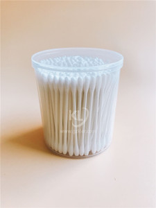 KL-P-03 200PCS Paper Stick Round Tips Cotton Buds In PP Can