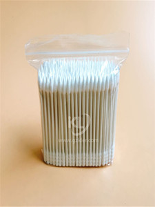 KL-P-25 200PCS Paper Stick Spiral Tips&Sharp Tips Cotton Buds In PE Zip Bag