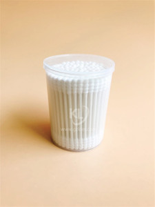 KL-P-08 100PCS Paper Stick Spiral Tips Cotton Buds In PP Can